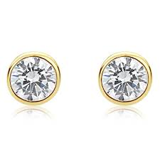 earrings for men accent 14k yellow gold cz martini setting bezel