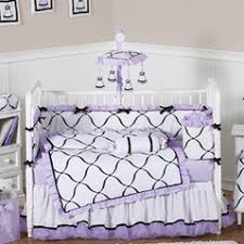 Purple Nursery Bedding Sets Purple Black And White Princess Baby Bedding 9 Pc Crib Set