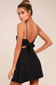 cute black skater dress backless dress skater dress
