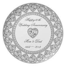 60th wedding anniversary plate 60th wedding anniversary melamine plate zazzle