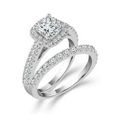bridal sets for two hearts princess cut bridal set in white gold 2ctw