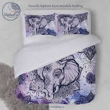 Elephant Print Comforter Set Elephant Bedding Bohemian Lotus Tattoo Duvet Cover Set Indie