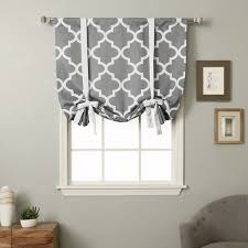 Fold Up Curtains Home 63 Inch Moroccan Print Room Darkening Tie Up Window