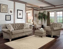 rustic modern living room with light brown tufted sofa chair and