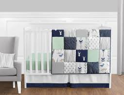 All White Crib Bedding Navy Blue Mint And Grey Woodsy Deer Baby Bedding 11pc Boys Crib