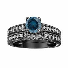 blue diamond wedding rings blue diamond wedding set ebay