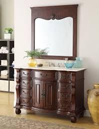 adelina 50 inch antique bathroom vanity brown finish cream marble top