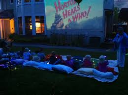 backyard kids movie night outside with movie projector i u0027m