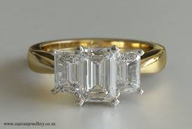gold engagement rings uk 3 emerald cut diamond engagement ring 1ctw 18kt yellow