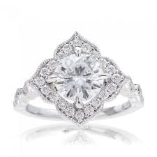 moissanite vintage engagement rings moissanite engagement ring with and antique accent