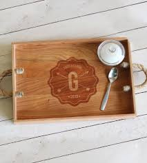 personalized serving tray custom monogram wood serving tray home kitchen pantry