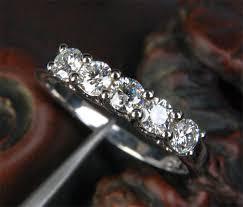 stone bands rings images 399 moissanite wedding band trellis anniversary ring 14k white jpeg
