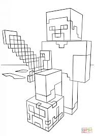 minecraft steve with diamond sword coloring page free printable