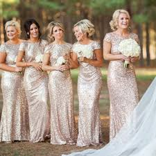 gold bridesmaid dresses most poular mermaid sleeve chagne gold sequin