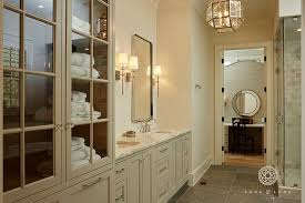 light taupe bath cabinets with gray floor tiles transitional