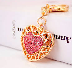 fashion key rings images Pink hollow out love heart key chains rings holder for lovers PNG