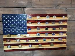 wooden flag wall challenge coin holder rustic american american flag