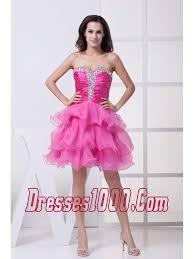 pink beading ruffled layers knee length prom dress perfect