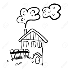cute doodle farm house on white background simple illustration