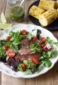 thai grilled steak salad with cilantro lime dressing season with