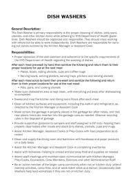 Sample Resume For Dishwasher by Dishwasher Description For Resume Resume For Your Job Application