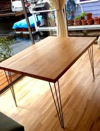maple butcher block dining table w hairpin legs butcher block