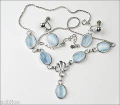blue glass necklace vintage images Vintage amco sterling silver light blue moonstone glass necklace jpeg