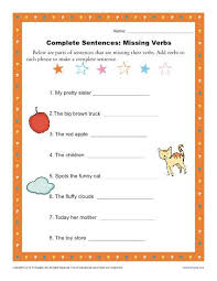 complete sentences missing verbs sentence structure worksheets