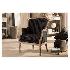 charlemagne traditional french blue stripe accent chair baxton