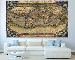 Canvas Map Of The World by Texelprintart Studio Canvas Wall Art Print For Home Decoration