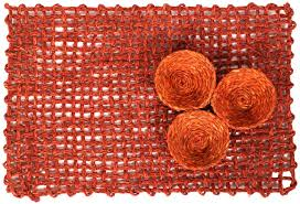 table mat u2013 handmade in sabai grass u2013 orange color u2013 table top