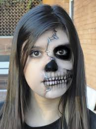 Black Eye Makeup For Halloween Half Face Skull Makeup By Mariana A On Deviantart Halloween
