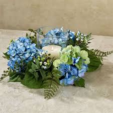 flower candle rings blue hydrangea candle ring floral centerpiece