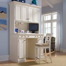 Wooden Computer Desk With Hutch by White Wooden Computer Desk With Triple Hutch Under The Counter Top