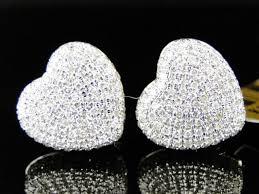 diamond stud earrings for women womens 10k white gold heart shape 3d diamond stud earrings