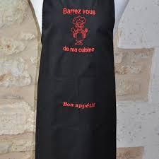 tablier homme cuisine tablier homme barrez vous de ma cuisine tissu noir avec prenom un