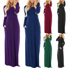 long sleeve casual solid maxi dresses for women ebay