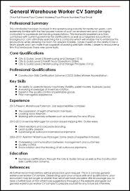 Warehouse Job Resume by Example Of A Warehouse Resume Construction Worker Resume 143 Best