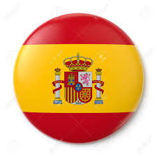 Flag With Red Circle A Pin Button With The Spanish Flag Isolated On White Background