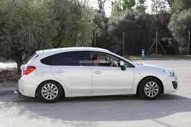 white subaru hatchback spyshots subaru impreza engine testing mule autoevolution