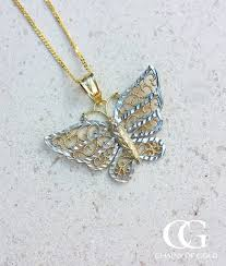 colour gold necklace images Solid gold butterfly pendant chain necklace chains of gold jpg