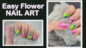 how to do easy flower nail art dotting tool youtube
