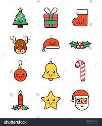 collection icons merry celebration decoration stock vector