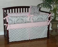baby bedding light baby pink gray damask chevron 3 5pc