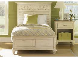 distressed style teak wood bed frame with high headboard in white