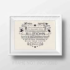 10th wedding anniversary gift personalised wedding word any anniversary year gift print 1st