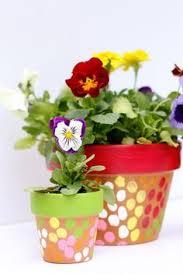 Garden Crafts For Children - thumbprint art for kids painted flower pots craft idea paint