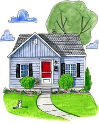painting of house from photos with pets watercolors robins and