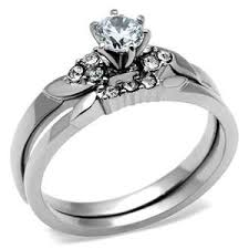 stainless steel wedding ring sets stainless steel solitaire cz engagement ring and