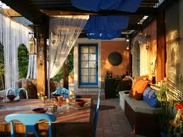 Outdoor Room Ideas Unusual Tableware On Square Table Closed Blue Chair Inside